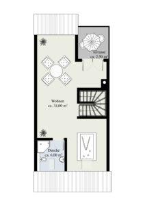 2. Obergeschoss (Massangaben können abweichen)