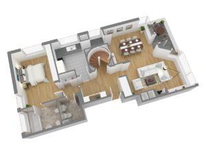 13161-Obergeschoss 3D Seitenansicht